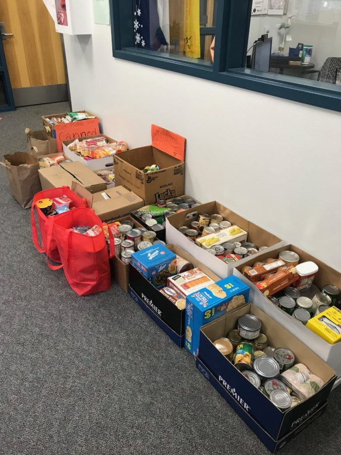 Donations from Oak's recent canned food drive.