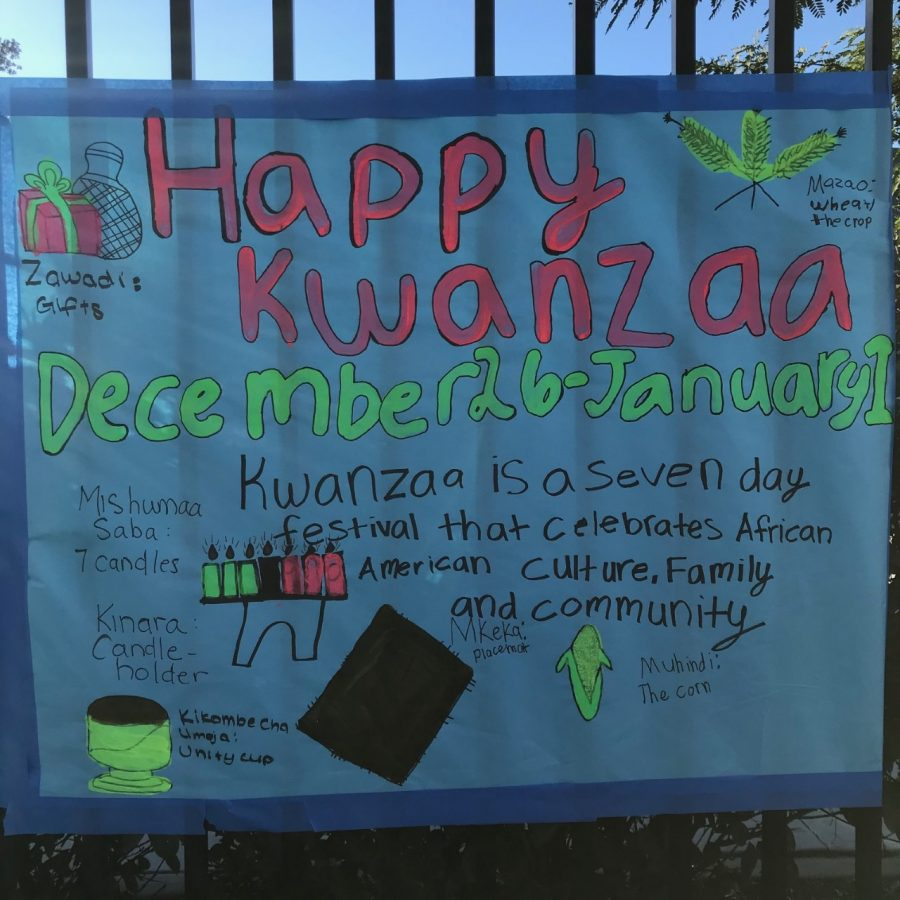 This is a holiday poster created by the leadership team to celebrate all the diverse holidays at Oak.