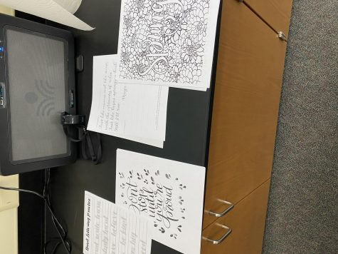 Worksheets calligraphy students use to practice their skills.