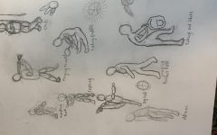 Advanced Art students draft of people and the human structure.